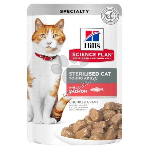 Hills Science Plan Feline Sterilised Cat Young Adult - пауч със сьомга - малки късчета в сос Грейви за млади кастрирани котки от 6 мес. до 6 год. 12 х 85 гр.
