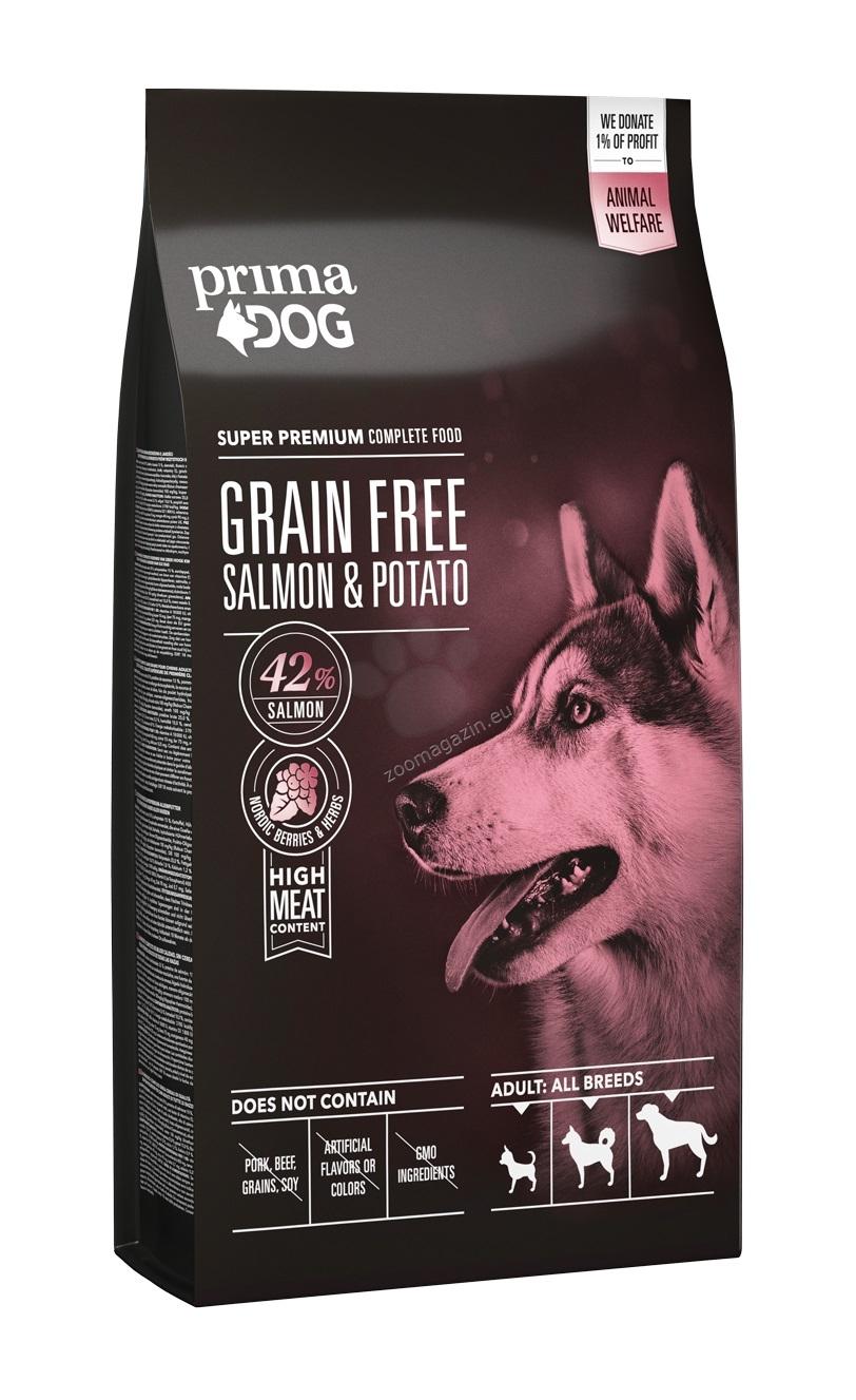 Prima Dog Adult All Breeds Sensitive Salmon & Potato Grain Free - пълноценна храна със сьомга и картофи, БЕЗ ЗЪРНО 10 кг.