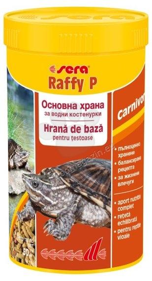 Sera - Raffy P - основна гранулирана храна за сухоземни, сладко и соленоводни костенурки и гущери 100 мл.