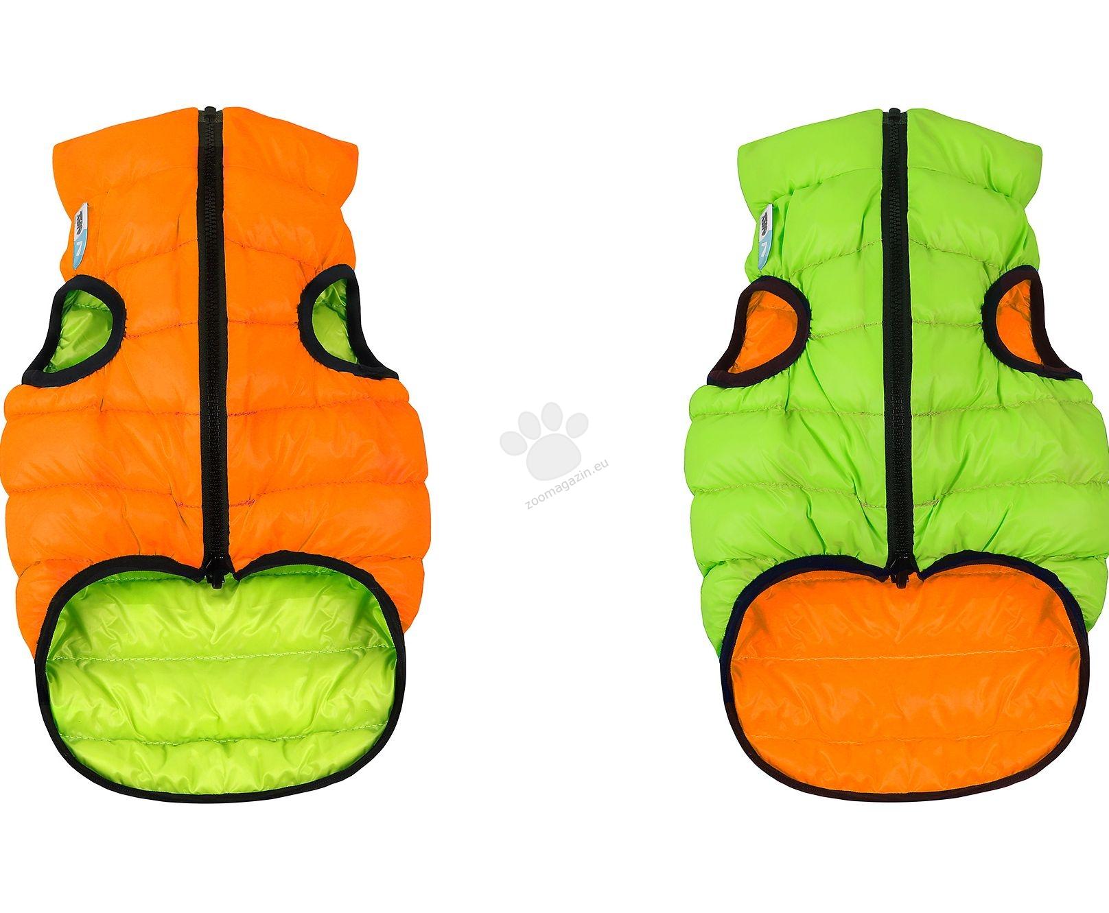 Airy Vest XS - двустранно олекотено кучешко яке, за кучета с дължина на гърба 22 см. / оранжево-светлозелено /