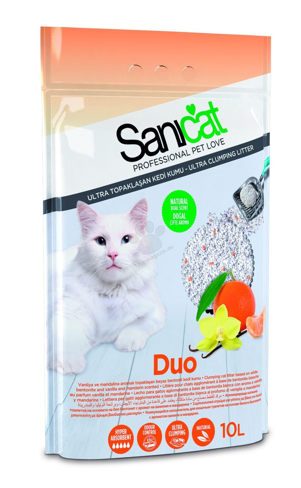 Sanicat Duo - натурална бентонитова котешка тоалетна с двоен аромат на ванилия и мандарина, 10 литра