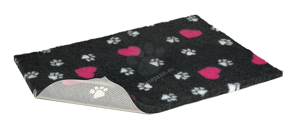 Vetbed Non-Slip Charcoal with Ceries Heart and White Paws - мека постелка със слой против пързаляне 100 / 75 см.