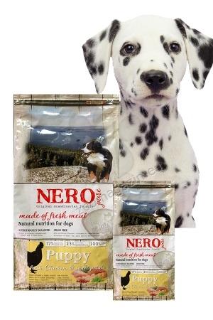 Nero Pure Puppy with Fresh Chicken (grain free) - храна за млади и подрастващи кучета със 77 % пилешко месо, 23 % плодове и зеленчуци, без зърнени съсътавки и без глутен 12 кг.