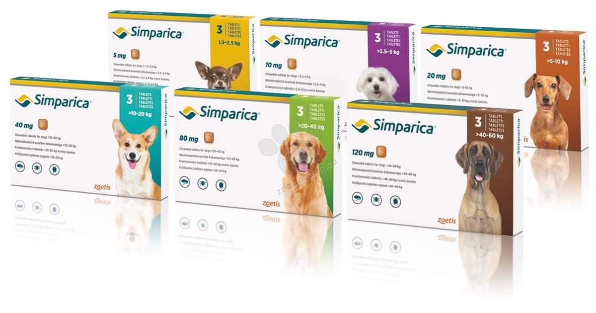 Simparica 120 мг. - дъвчащи таблетки за кучета с тегло 40 - 60 кг. / кутия 3 броя /