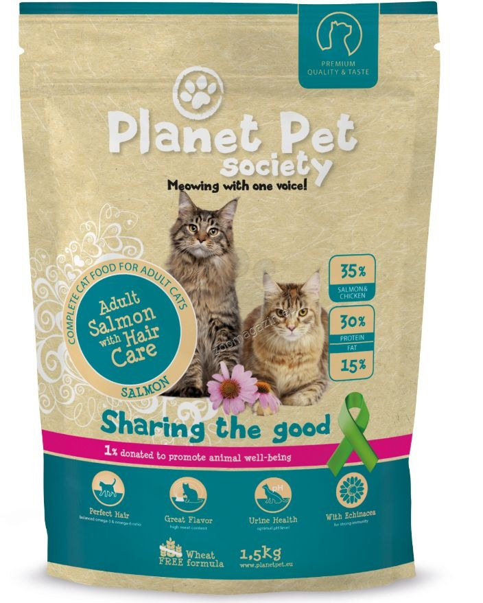 Planet Pet Society Adult with Hair Care Salmon - пълноценна храна за красива козина и здрава кожа 1.5 кг.