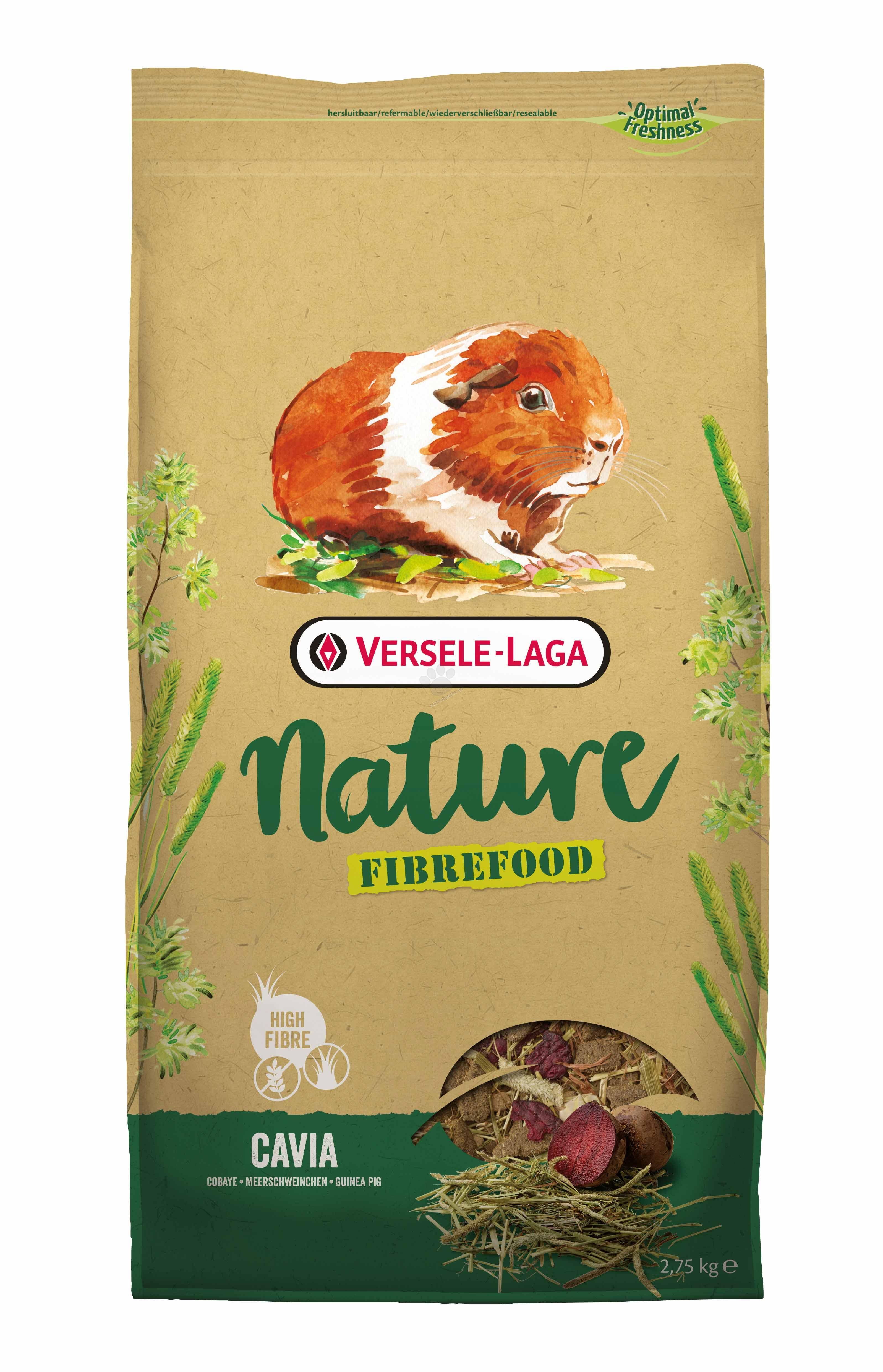 Versele Laga - Fiberfood Cavia - пълноценна храна за за морски свинчета - възрастни, капризни и живеещи у дома 2.75 кг.