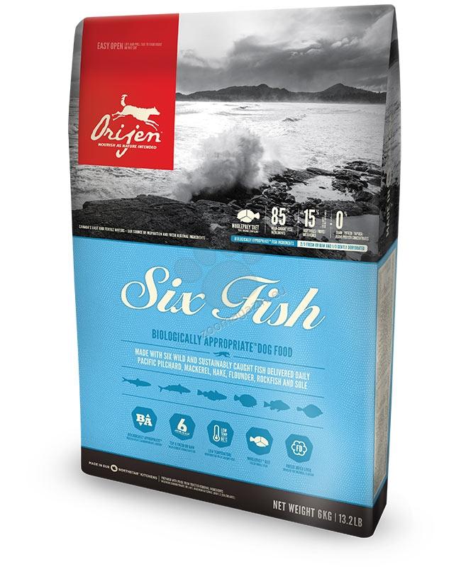 Orijen Six Fresh Fish New  Formula - за кучета над 12 месечна възраст, подходяща за кучета всички породи - 11.4 кг.