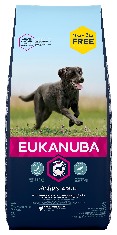 Eukanuba Adult Chicken Large Breed - за кучета едри и гигантски породи над 26 кг., и възраст над 18 месеца 15 кг. + 3 кг. ГРАТИС