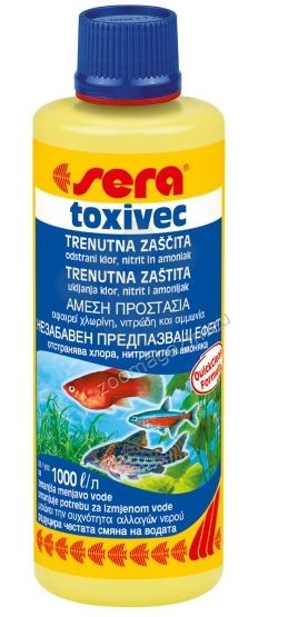 Sera - Toxivec - при случай на високи нива на амоний/амоняк, нитрити, хлор, тежки метали 250 мл.
