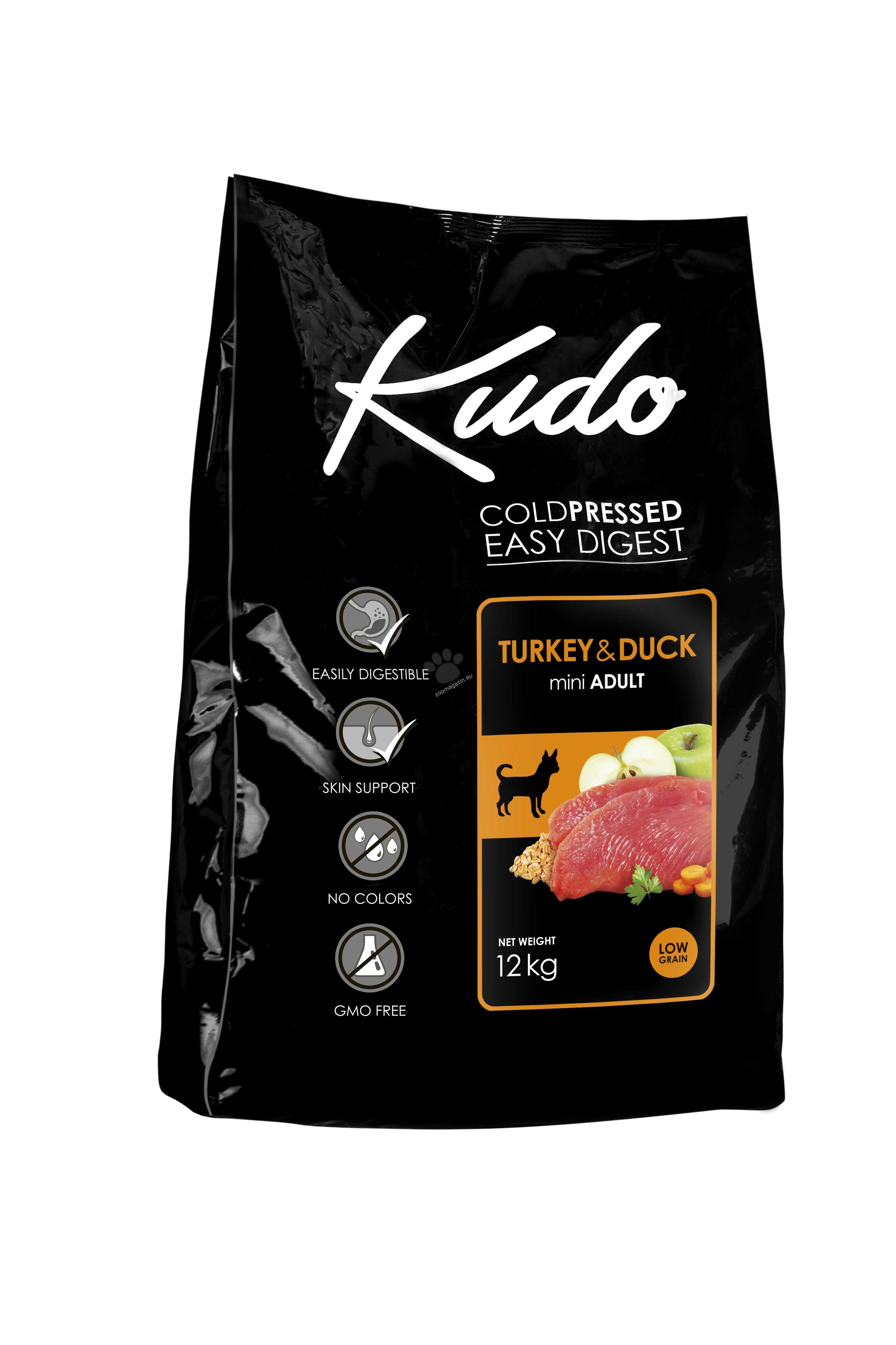 Kudo Low Grain Turkey/Duck Mini Adult - балансирана суха храна за кучета от малки породи на възраст над 12 месеца 12 кг.