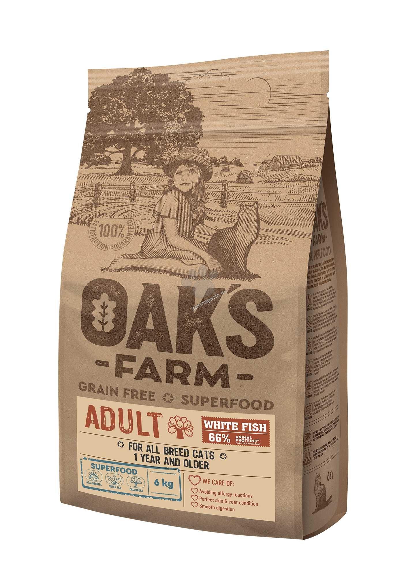 Oaks Farm Grain Free White Fish Adult Cat - пълноценна храна без зърнени култури с бяла риба за пораснали котки над 1 година 18 кг.