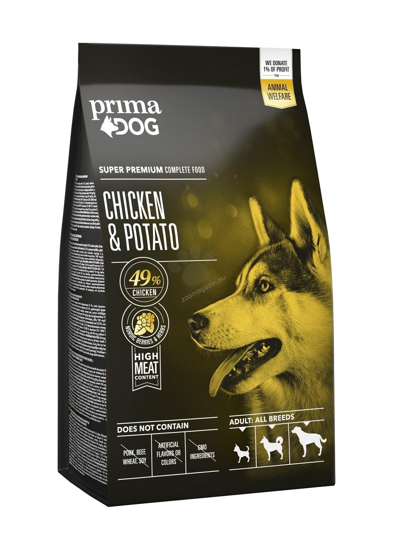 Prima Dog Adult All Breeds Chicken & Potato - пълноценна храна с пилешко и картофи за кучета средни / 10-25 кг. / и големи /над 25 кг. / породи над 12 месеца 12 кг.