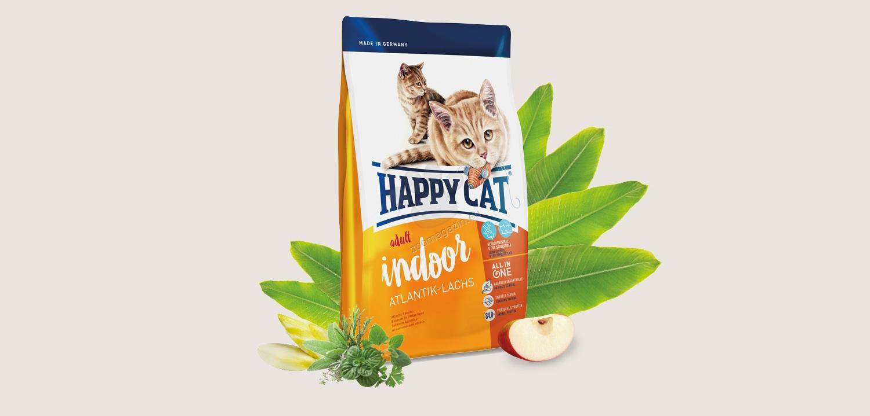 Happy Cat Indoor Atlantic Salmon - с месо от атлантическа сьомга, за котки с намалена физическа активност 1.4 кг.