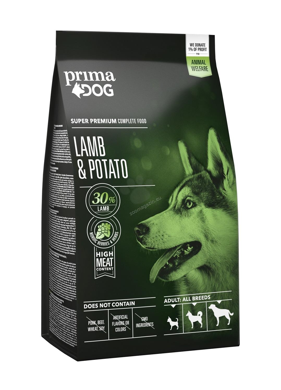 PrimaDog ADULT ALL BREEDS LAMB & POTATO - пълноценна храна с агнешко и картофи за кучета средни / 10-25 кг. / и големи /над 25 кг. / породи над 12 месеца 12 кг.