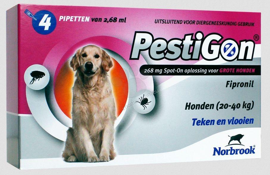 Norbrook Pestigon 268 mg spot-on - за кучета с тегло от 20 до 40 кг. / кутия с четири броя пипети /