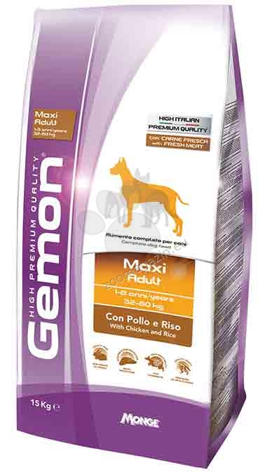 GEMON Maxi adult chicken & rice- за кучета в зряла възраст от едрите породи с пилешко с ориз 15 кг. + ПОДАРЪК: 6 броя консерви Gemon Chunks with Beef and Liver - с телешко и черен дроб 415 гр.