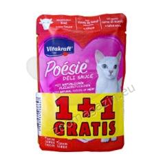 ПРОМОЦИЯ: Poésie Beef - пауч с говеждо месо, без глутен, без зърнени храни с 55% съдържание на месо 85 гр., 2 броя на цената за 1 брой