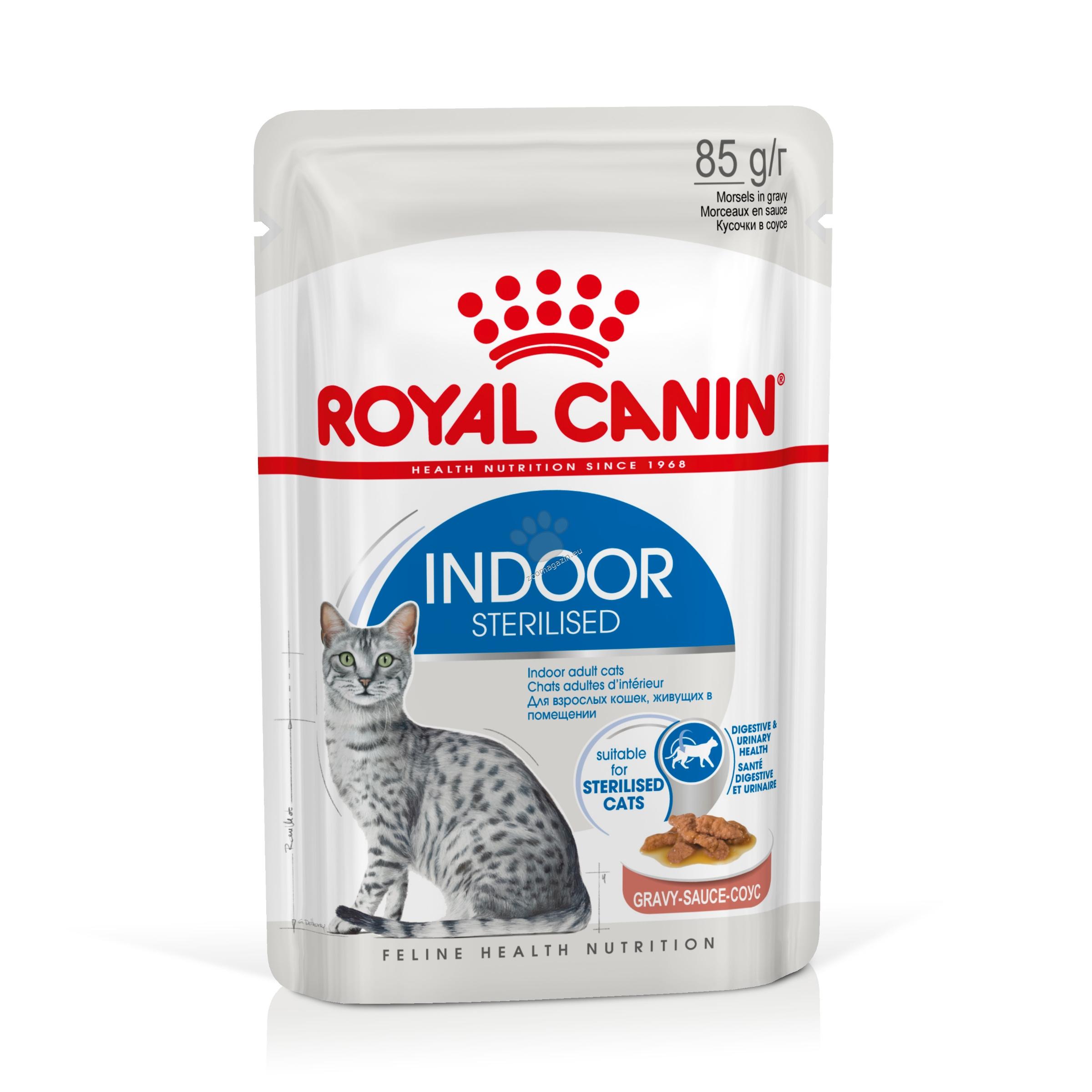 Royal Canin Indoor Sterilised Gravy - за кастрирани котки отглеждани на закрито ( сос ) 85 гр.