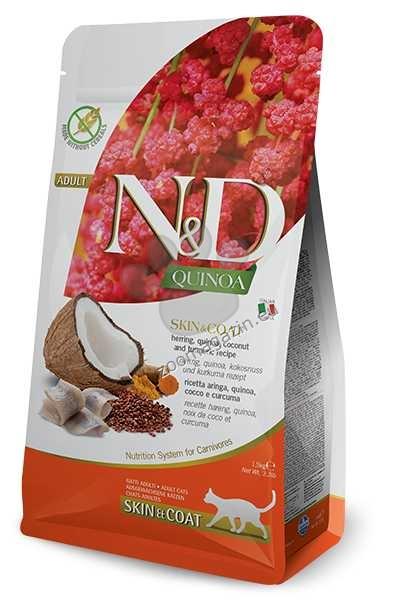 N&D Quinoa Skin & Coat Herring Coconut – пълноценна храна с киноа за котки над една година, при чувствителен стомах, здрава кожа и козина с херинга, кокос и куркума 1.5 кг. + ПОДАРЪК: 3 броя консерва N&D Cat