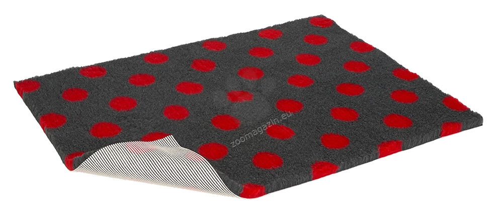Vetbed Non-Slip Charcoal with Red Polka Dots - мека постелка със слой против пързаляне 120 / 75 см.