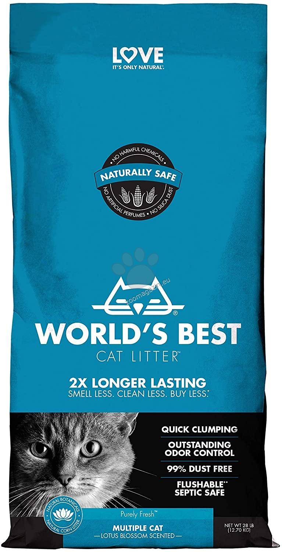 Worlds Best Cat Lavender Scented Multiple cat litter - най добрата тоалетна за Вашият дом 12.7 кг. / с аромат на лотосов цвят /