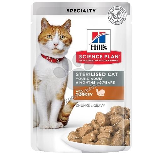 Hills Science Plan Feline Sterilised Cat Young Adult - пауч с пуйка - малки късчета в сос Грейви за млади кастрирани котки от 6 мес. до 6 год. 12 х 85 гр.