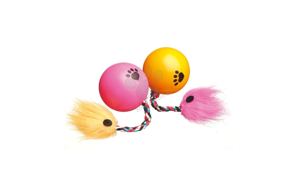 Camon Play ball with rope - топче с пера 35 мм., 1брой  / розово, жълто /