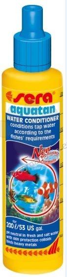 Sera - Аquatan - незабавно кондиционира чешмяната вода съгласно изискванията на рибите – използва се както за сладководни, така и за соленоводни аквариуми 50 мл.