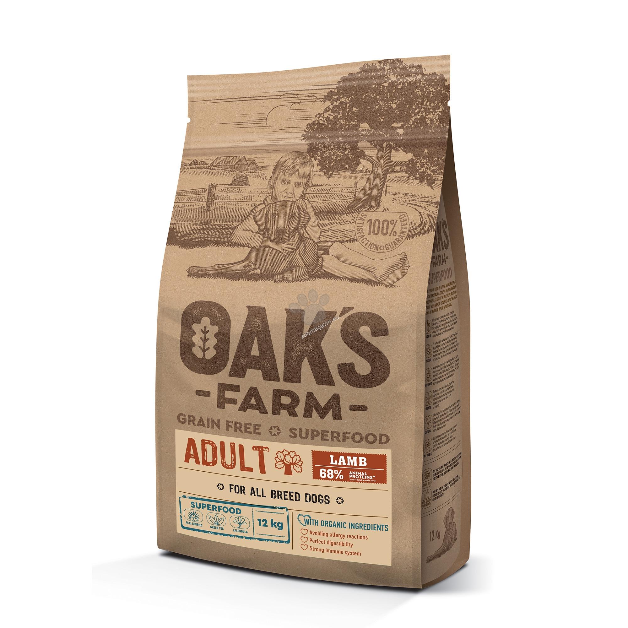 Оакs Farm Adult Lamb All Breeds - пълноценна храна с агнешко, без зърнени култури за пораснали кучета от всякакви породи 18 кг.