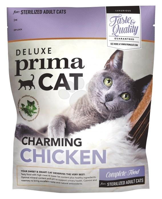 PrimaCat Deluxe Chunky Chicken Sterilized - пълноценна храна с пилешко месо, за кастрирани котки над 12 месеца 400 гр.