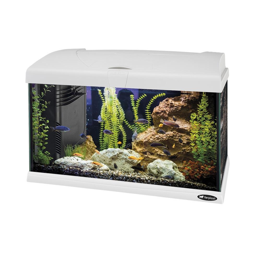 Ferplast - Aquarium Capri 50 LED - аквариум с пълно оборудване 50 л. бял