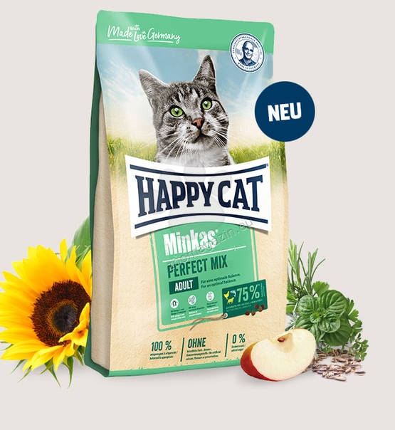 Happy Cat Minkas Perfect Mix - пълноценна храна с пилешко и говеждо месо, за котки над 12 месеца 10 кг.