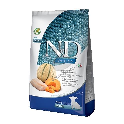 N&D Ocean Dog Cod, Pumpkin & Cantaloupe Melon Puppy Mini - пълноценна храна за подрастващи кучета до 1г. от дребните породи с тиква, риба треска и пъпеш 2.5 кг.
