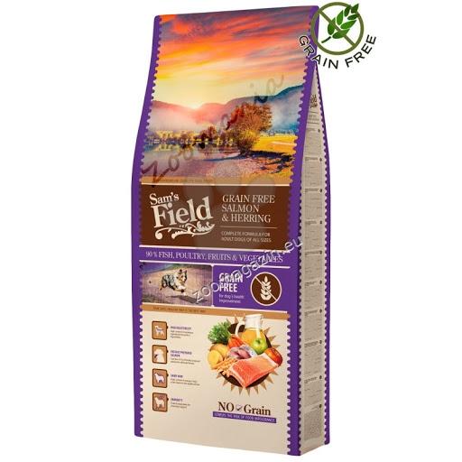 Sams Field Grain Free Salmon & Herring - със сьомга и херинга, без зърнени добавки, подходяща за всички кучета 13 кг.