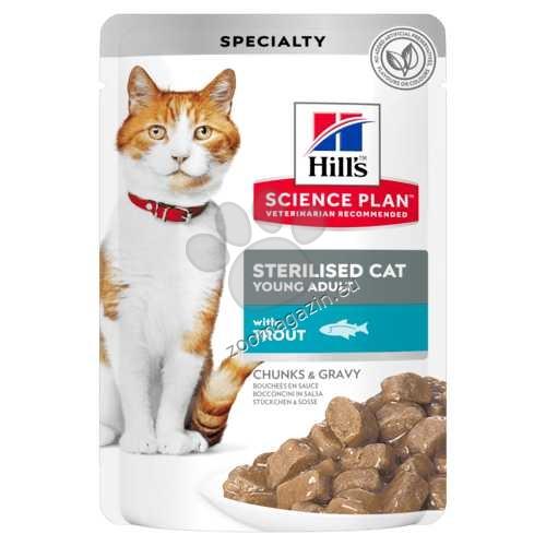 Hills Science Plan Feline Sterilised Cat Young Adult - с пъстърва – малки късчета в сос Грейви за млади кастрирани котки от 6 мес.  до 6 год. 12 х 85 гр.