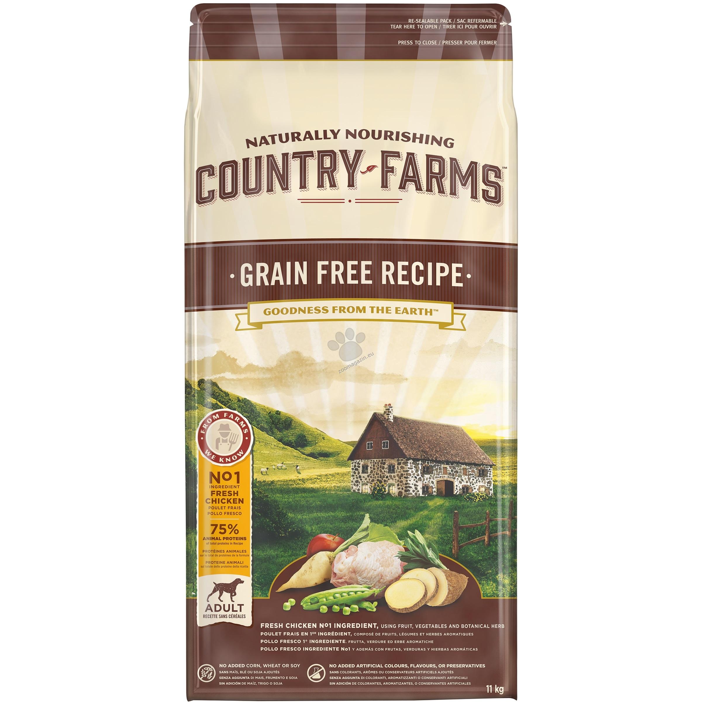 Country Farms Grain Free Adult Chicken - пълноценна храна с пилешко месо за кучета средни и големи породи над 12 месечна възраст 11 кг.