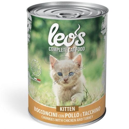 Leos Kitten с пилешко и пуешко – хапки с пилешко и пуешко – за подрастващи котенца 415 гр.