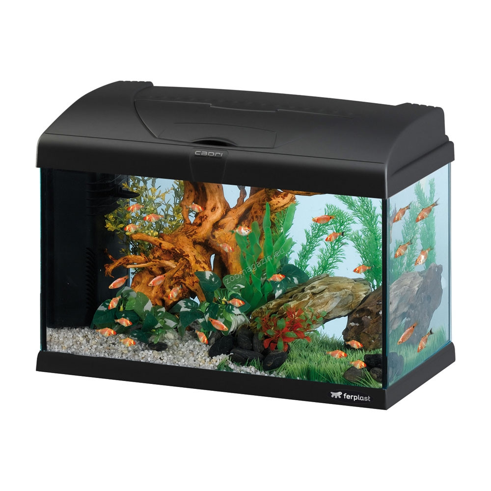 Ferplast - Aquarium Capri 50 LED - аквариум с пълно оборудване 50 л. черен