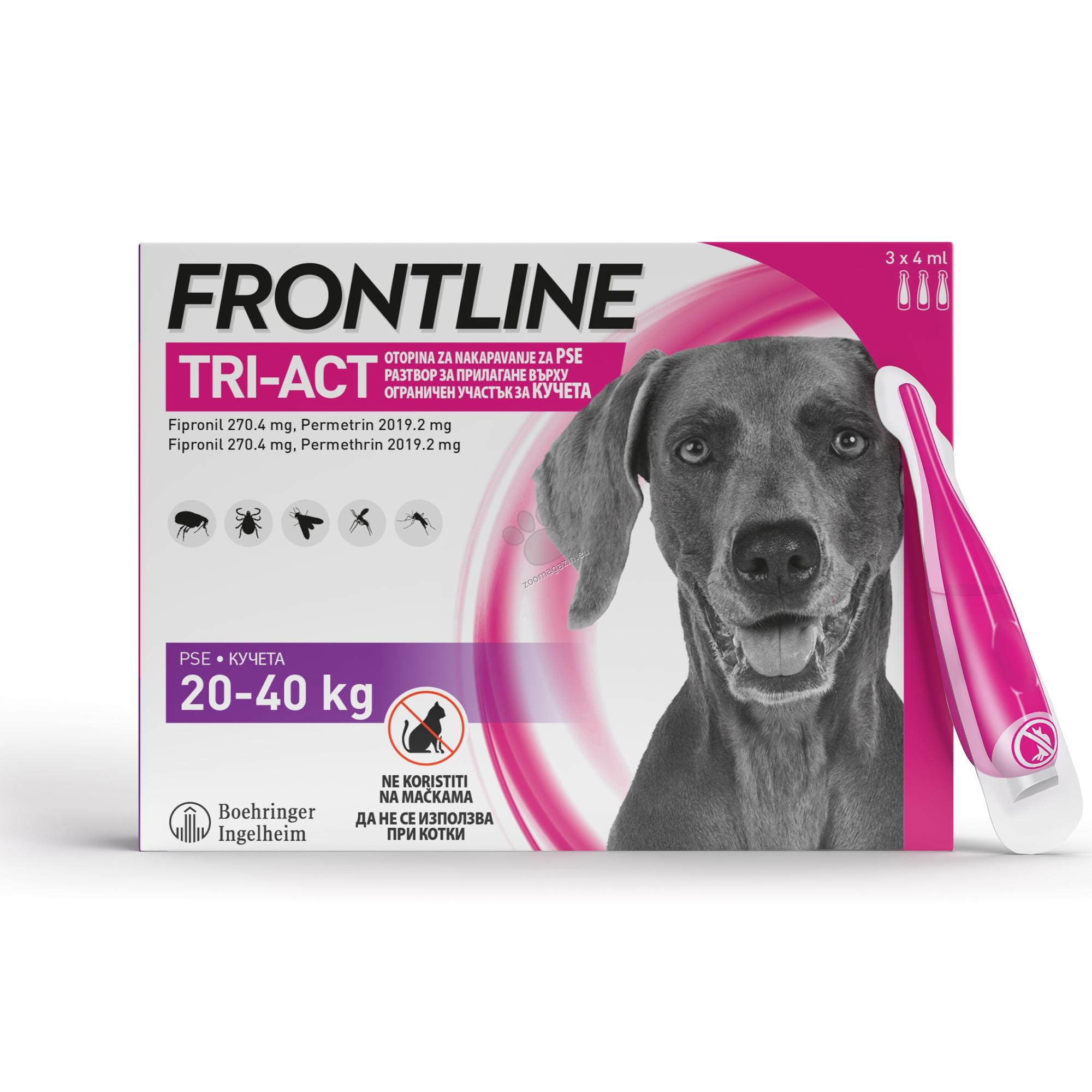 Frontline Tri-Act L - Спот он форма с разтвор против бълхи и кърлежи, с репелентно действие срещу кърлежи, пясъчни мухи, хапещи мухи и комари за кучета с телесно тегло 20-40 кг . / 3 броя пипети /