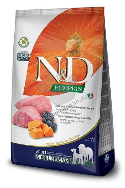 N&D Pumpkin Lamb & Blueberry Medium / Maxi  Adult - пълноценна храна с тиква за кучета в зряла възраст една година, от средните и едри породи с агне и боровинки 2.5 кг.