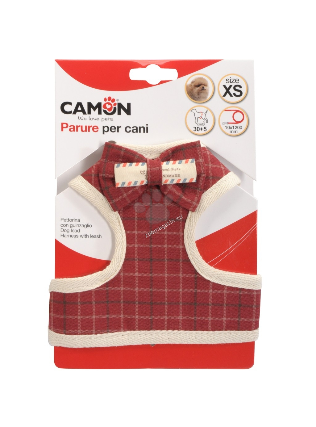 Camon Scottish Red/Blue M - нагръдник с повод за кучета с обиколка на гърдите 45-50 см. / червен, син /