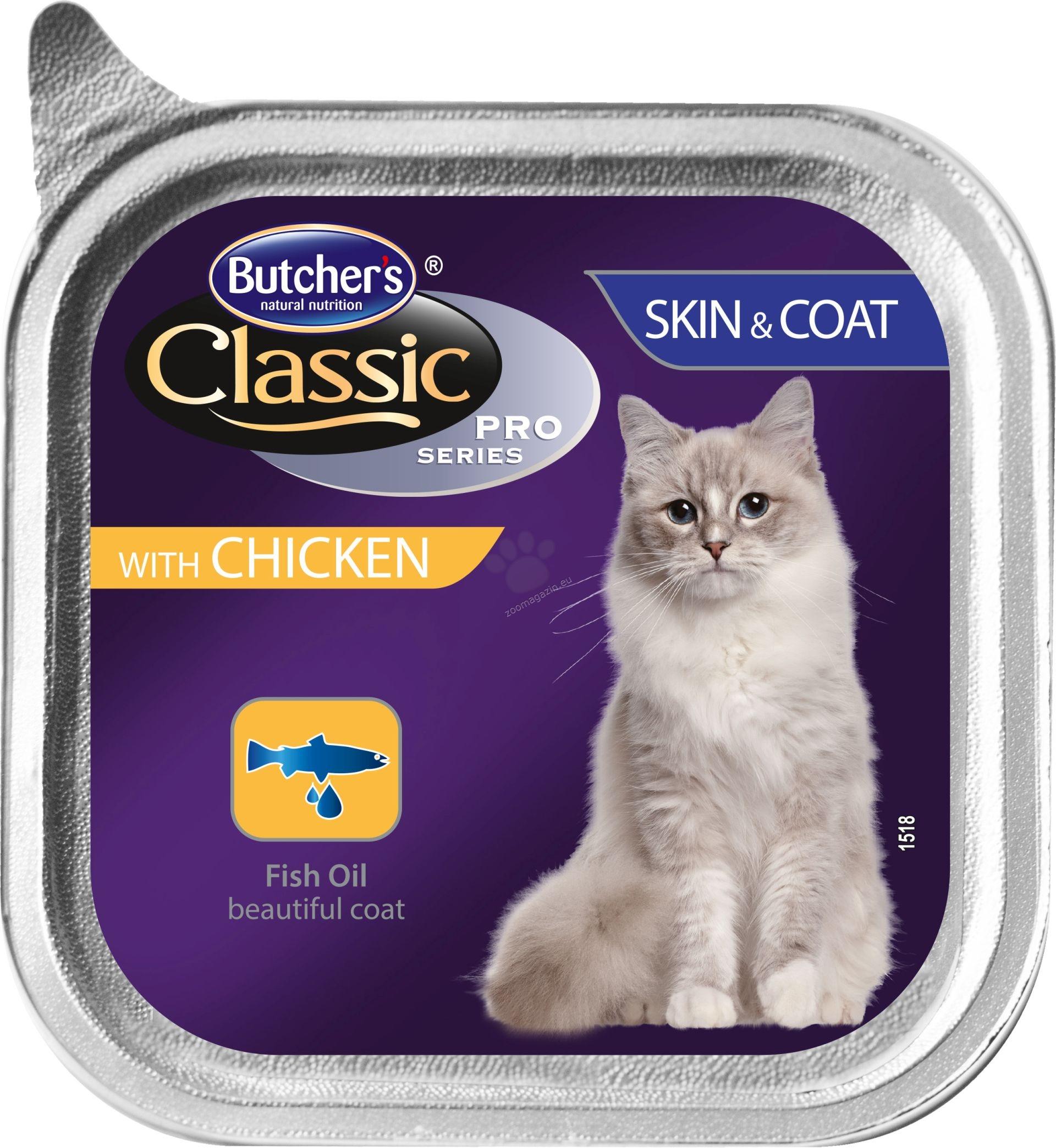 Butchers - Classic Pro Series Skin & Coat with chicken pate - храна за котки с пилешко месо за здрава кожа и красива козина, 100 гр. /пастет/