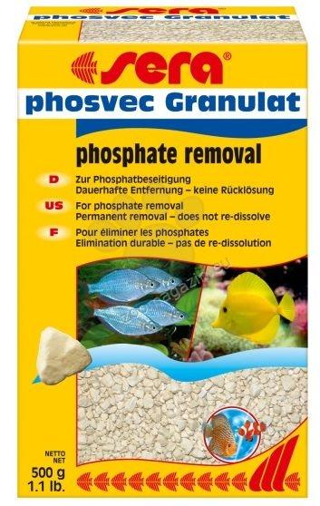 Sera - Phosvec Granulat  - отстранява фосфатите бързо , лесно и безопасно с дълготраен ефект, действа около 3 месеца., подходящ за сладко и соленоводни аквариуми  500 гр