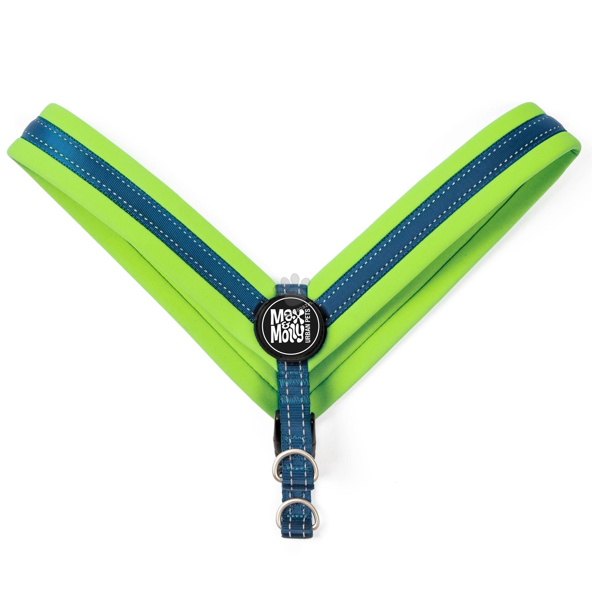 Max Molly H-Harness Q-Fit Green XXS - нагръдник за кучета с обиколка на гърдите 25 - 29 см.