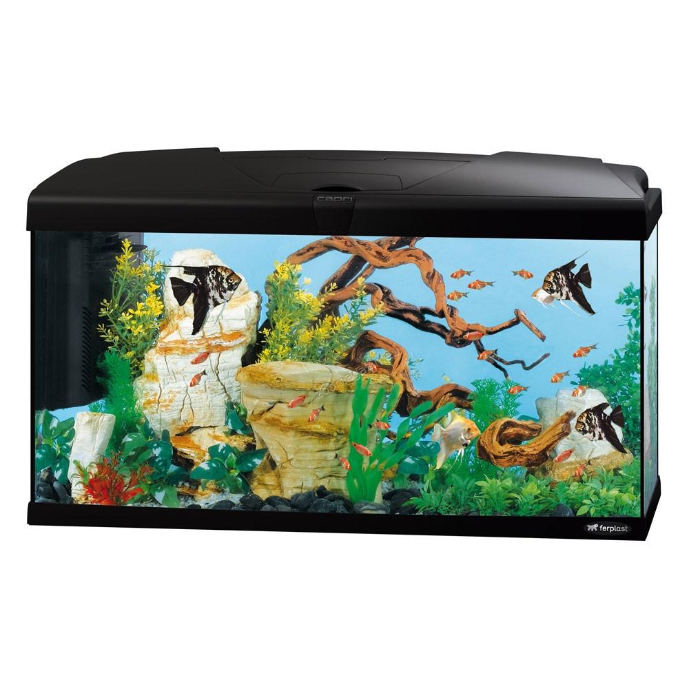 Ferplast - Aquarium Capri 80 LED - аквариум с пълно оборудване 100 л. черен