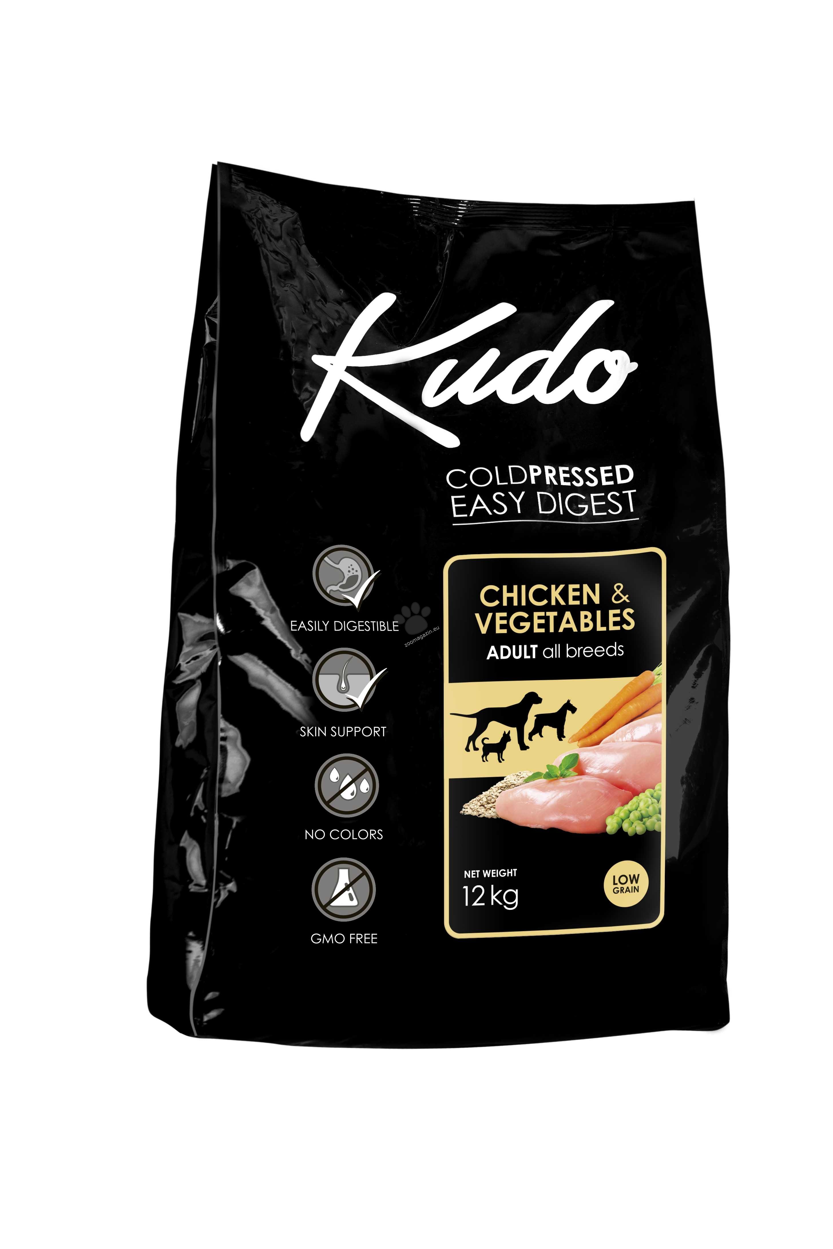 Kudo Low Grain Chicken Adult - подходяща за израснали кучета от всички породи над 12 месеца 12 кг.