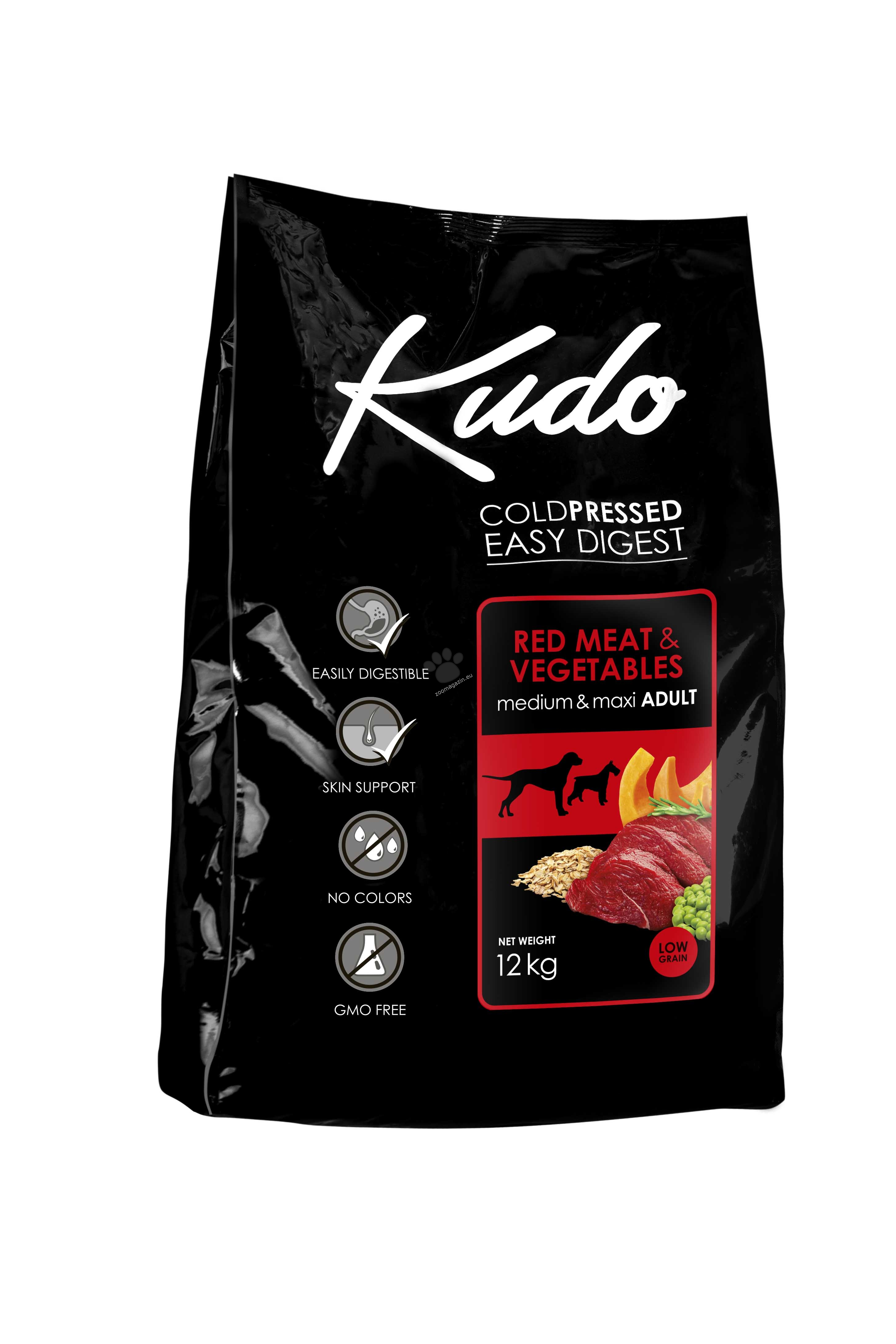 Kudo Low Grain Red Meat Medium-Maxi Adult - подходяща за израстнали кучета от средни и едри породи над 1 година 12 кг.