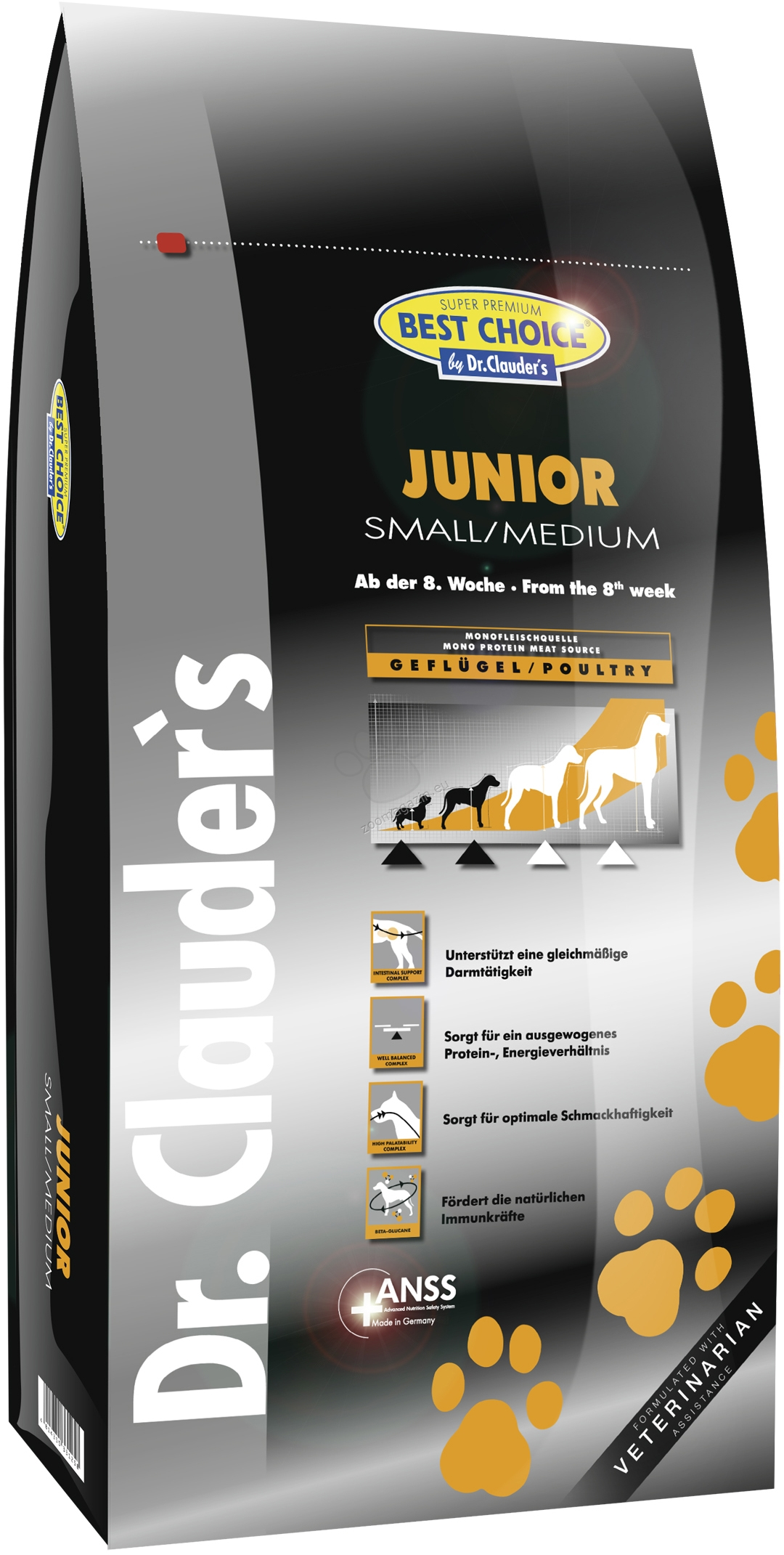 Dr. Clauder Super Premium Small/Medium Breed Junior - с прясно пилешко месо, за кучета малки и средни породи до 25 кг. от 2 до 12 месеца 350 гр.