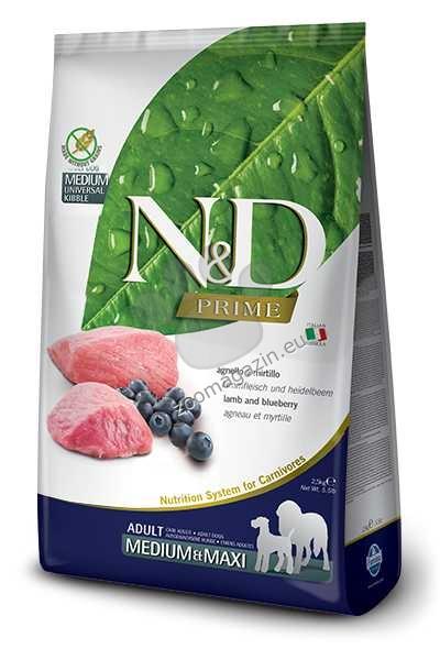 N&D Grain Free Medium/Maxi Adult - пълноценна храна с агнешко месо и боровинки, за кучета средни и едри породи над 12/18 месеца 2.5 кг.