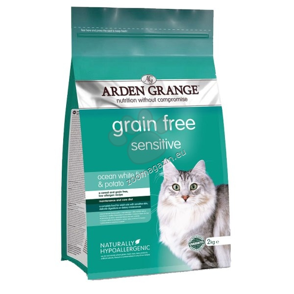 Arden Grange - Sensitive Ocean Fish Grain Freee - с океанска бяла риба, за котки с чувствителен стомах и кожа над 12 месеца 400 гр.